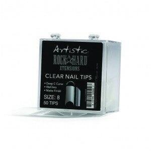 Artistic Rock Hard Xtentions Clear Nail Tips 50ct Size 8 - Professional Salon Brands