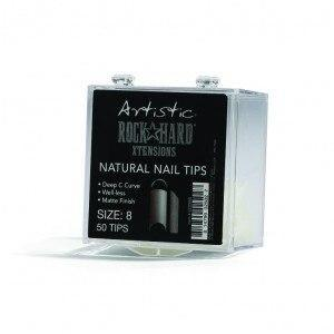Artistic Rock Hard Xtentions Natural Nail Tips 50ct Size 8 - Professional Salon Brands