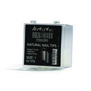 Artistic Rock Hard Xtentions Natural Nail Tips 50ct Size 7 - Professional Salon Brands