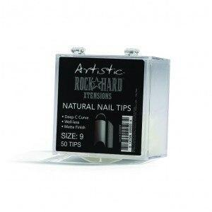 Artistic Rock Hard Xtentions Natural Nail Tips 50ct Size 9 - Professional Salon Brands