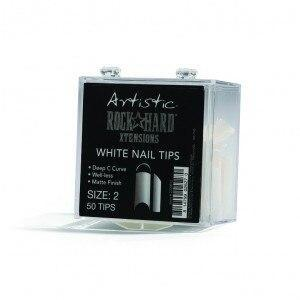 Artistic Rock Hard Xtentions White Nail Tips 50ct Size 10 - Professional Salon Brands