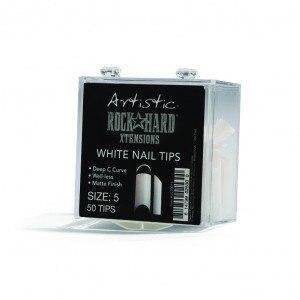 Artistic Rock Hard Xtentions White Nail Tips 50ct Size 5 - Professional Salon Brands