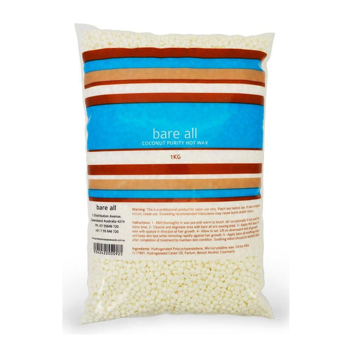 Bare All Coconut Purity Hot Wax Beads 1kg - Professional Salon Brands