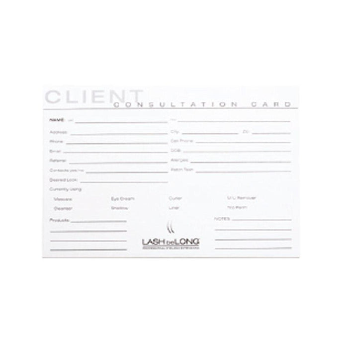 LASH beLONG Client Consultation Cards - Professional Salon Brands
