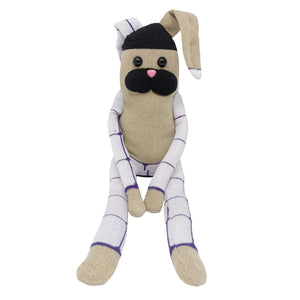 Beige Sock Bunny with Pink Nose and Big Black Eyes