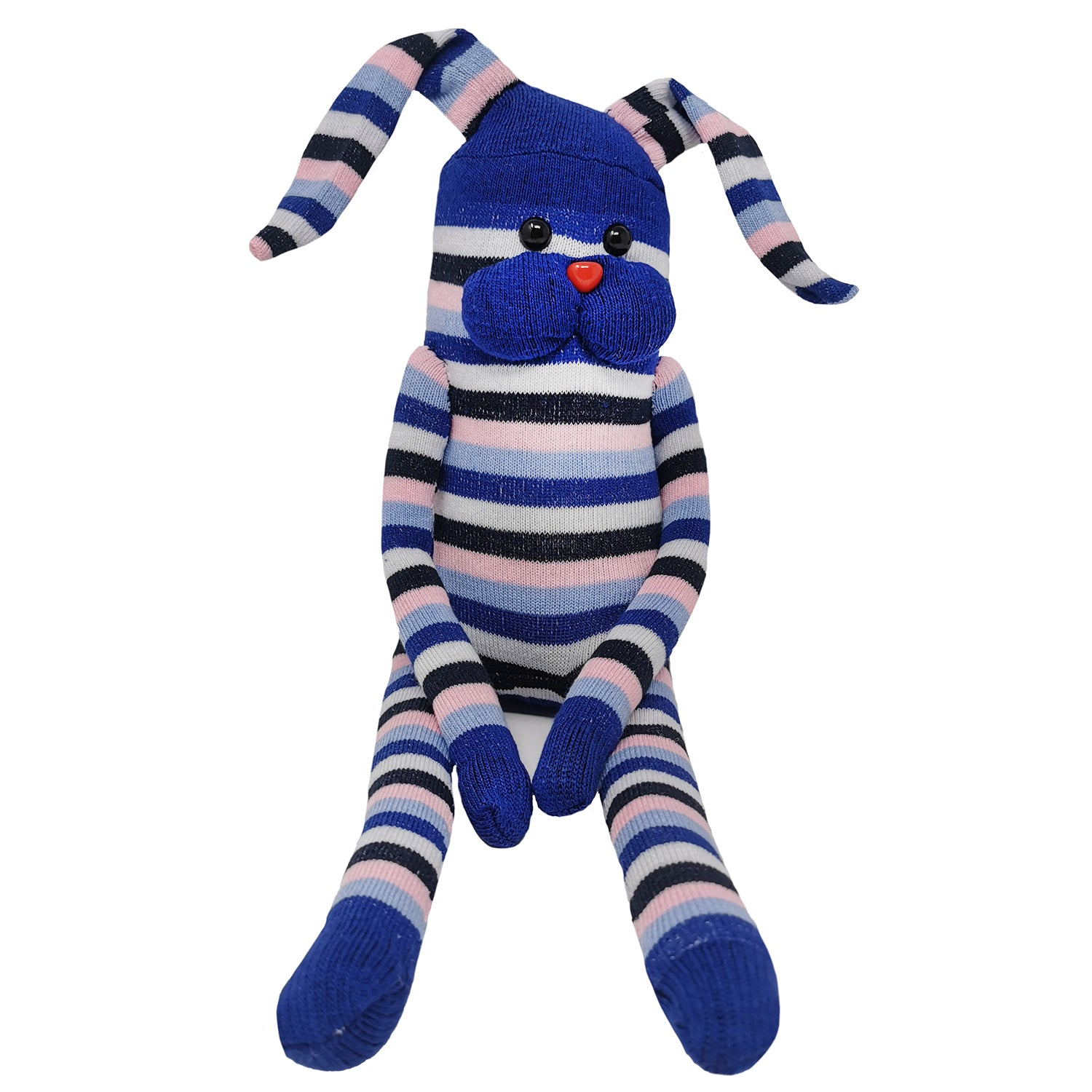 Dark Blue Sock Bunny with pink, black, dark blue and light blue stripes