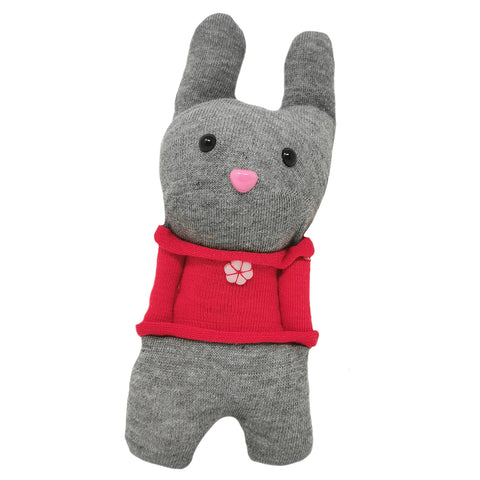 Little Sock Pocket Bunny with Red T-Shirt