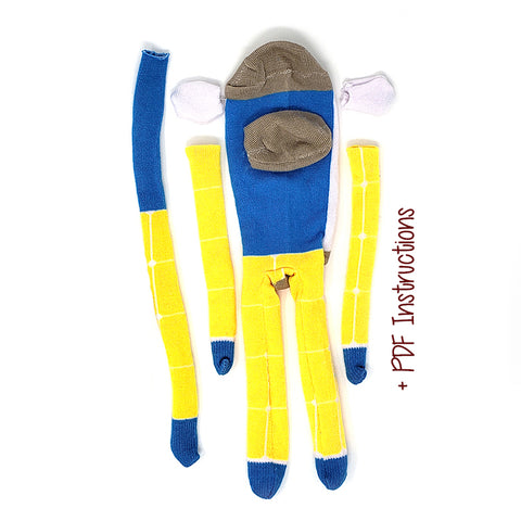 Blue and Yellow Monkey with White Back - Budget DIY Sock Monkey Kit