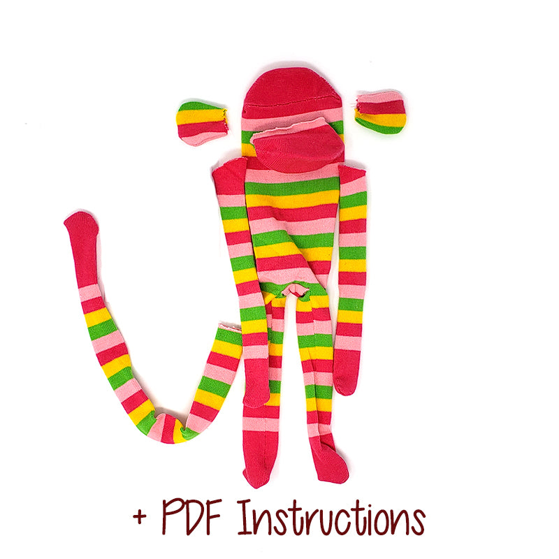 Dark Pink Monkey with Yellow, Pink, and Green Stripes - Budget DIY Sock Monkey Kit (Pre-Sewn and Cut)