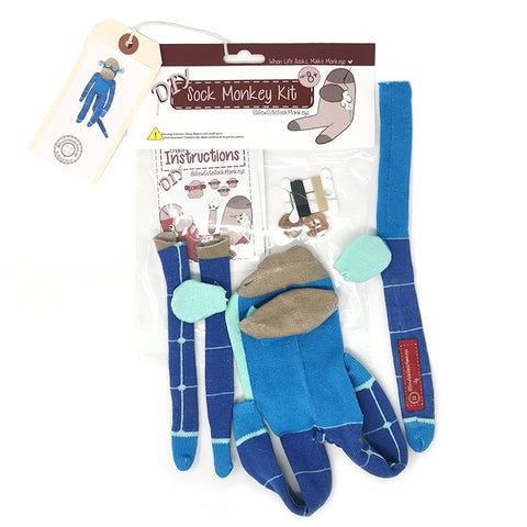Dark and Light Blue Grid Monkey - Standard DIY Sock Monkey Making Kit