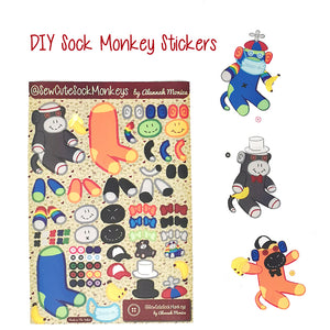 DIY Sock Monkey Stickers - Vinyl Hight Quality