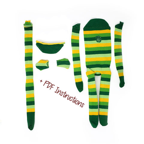 Dark Green Monkey with Lighter Green and Yellow Stripes - Budget DIY Sock Monkey Kits (Pre-Sewn and Cut)