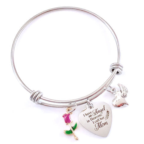 Mom Memorial Bangle Bracelet: Angel in Heaven
