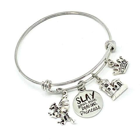 Charm Bangle Bracelet:  Slay Your Own dragons, Princess Bangle Bracelet