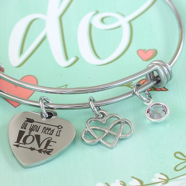 Charm Bangle Bracelet: All You Need is Love