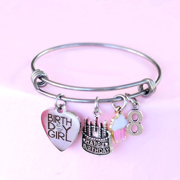 Birthday Girl Bangle Bracelet: Age 8