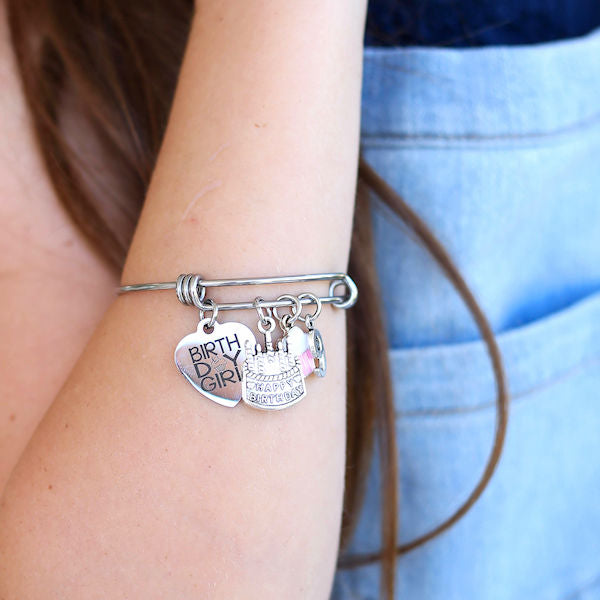 Birthday Girl Bangle Bracelet: Age 9