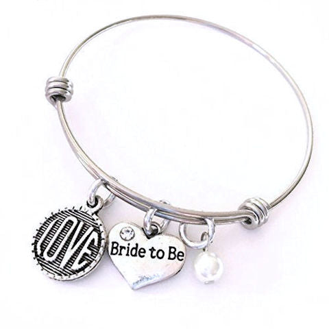 Charm Bangle Bracelet: Bride to Be