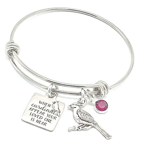 Memorial Bangle Bracelet: When Cardinals Appear