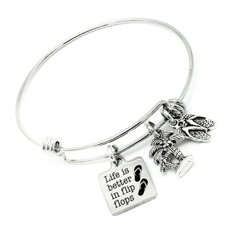 Life is Better in Flip Flops, Vacation Bangle Bracelet