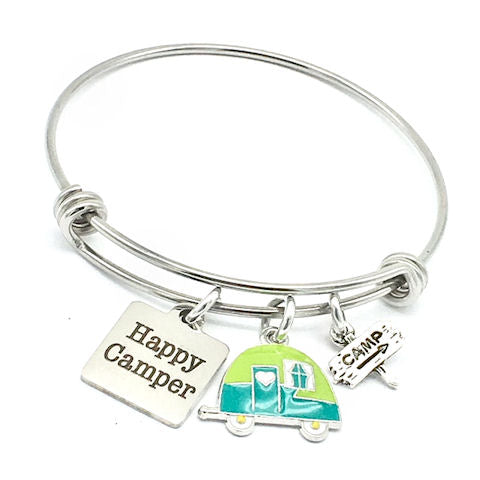 Happy Camper, Camping Bangle Bracelet, Green and Blue