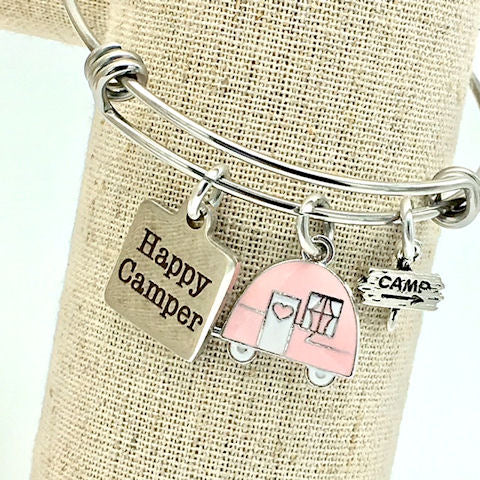 Happy Camper, Camping Bangle Bracelet, Pink