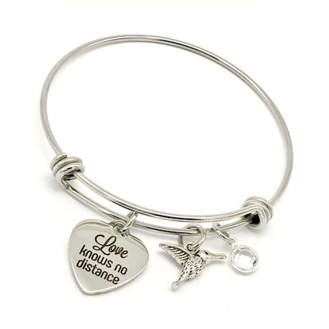 Hummingbird Charm Bangle Bracelet: Love Knows No Distance