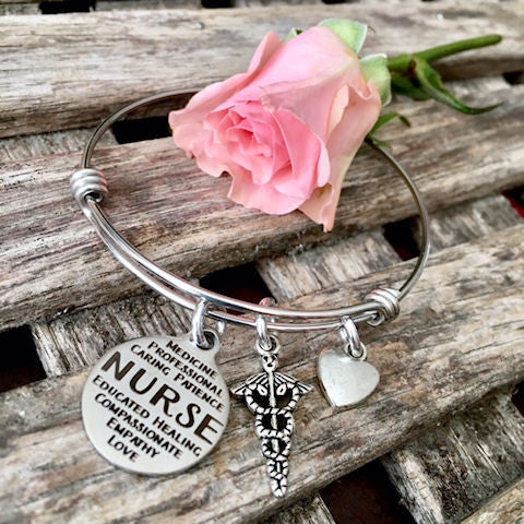 Nurse Bangle Bracelet, Gift for Nurses