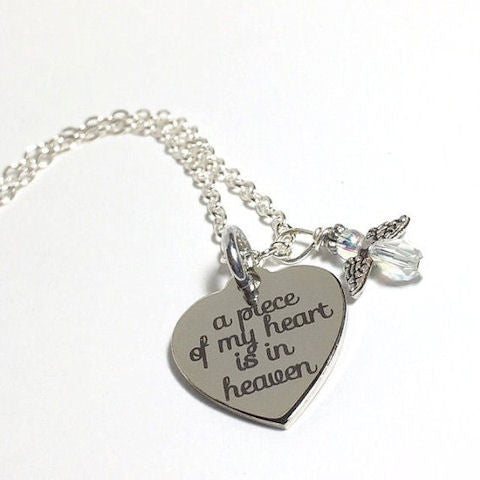 Memorial Necklace, A Piece of my Heart is in Heaven