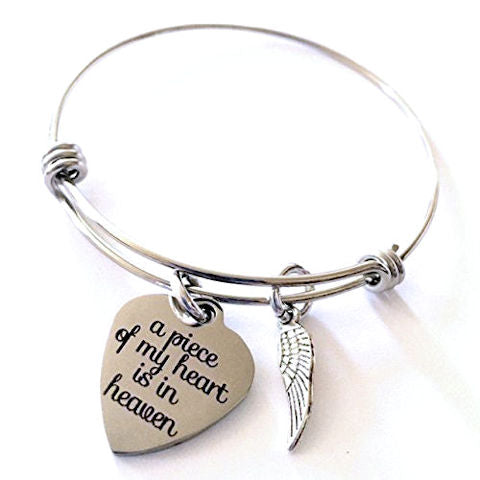 Memorial Bangle Bracelet: A Piece of My Heart is in Heaven