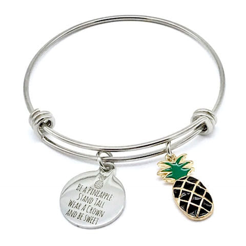 Be a Pineapple, Black Tropical Inspirational Bangle Bracelet