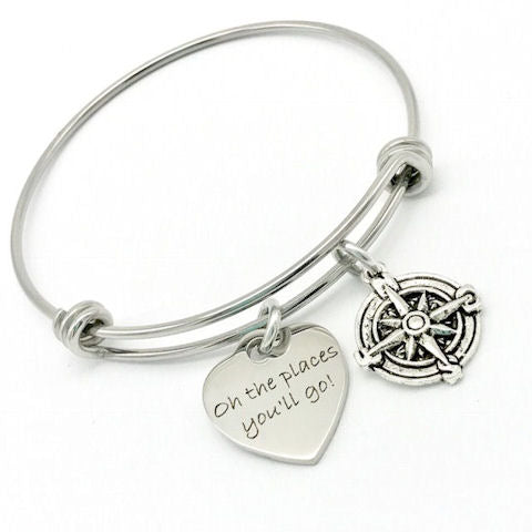 Oh the Places You'll Go, Compass Bangle Bracelet