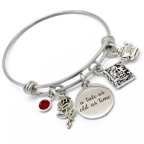 Charm Bangle Bracelet:  Beauty and the Beast Inspired