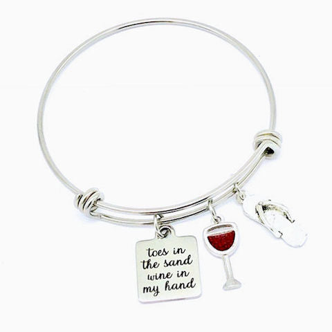 Charm Bangle Bracelet: Toes in the Sand, Wine in My Hand