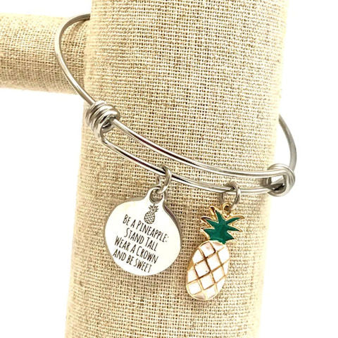 White Pineapple, Tropical Inspirational Bangle Bracelet