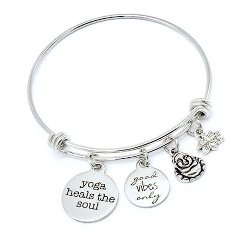 Yoga Heals the Soul, Good Vibes Only Bangle Bracelet