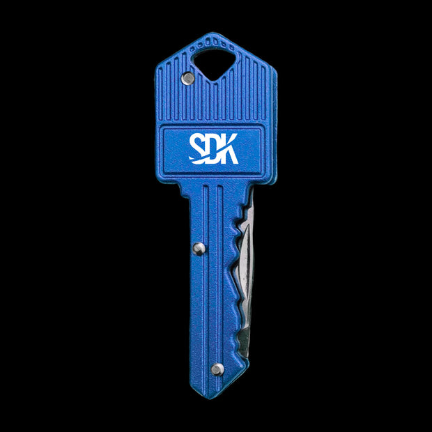SDK Key Knife Blue (stainless steel key-shaped flip knife)