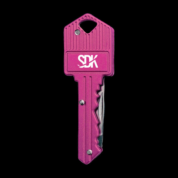 SDK Key Knife Pink (stainless steel key-shaped flip knife)