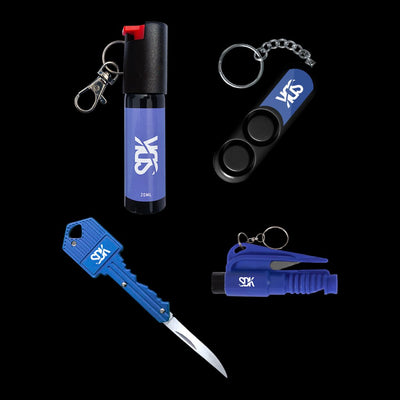 SDK Blue Kit with Pepper Spray, Personal Safety Alarm, Key Knife & Escape Tool