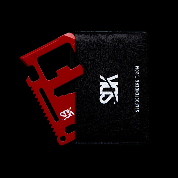 SDK Multi Card Tool, Red with card holder (credit card sized stainless steel tool with 10 functions: Can opener, Knife edge, Screwdriver, Ruler, Cap opener, 2 Position wrench, 4 Position wrench, Butterfly wrench, Saw blade and Direction ancillary indication)
