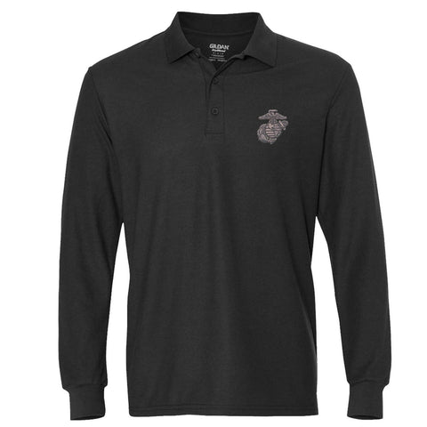 Gunmetal Embroidered Long Sleeve Polo (MULTIPLE COLORS)