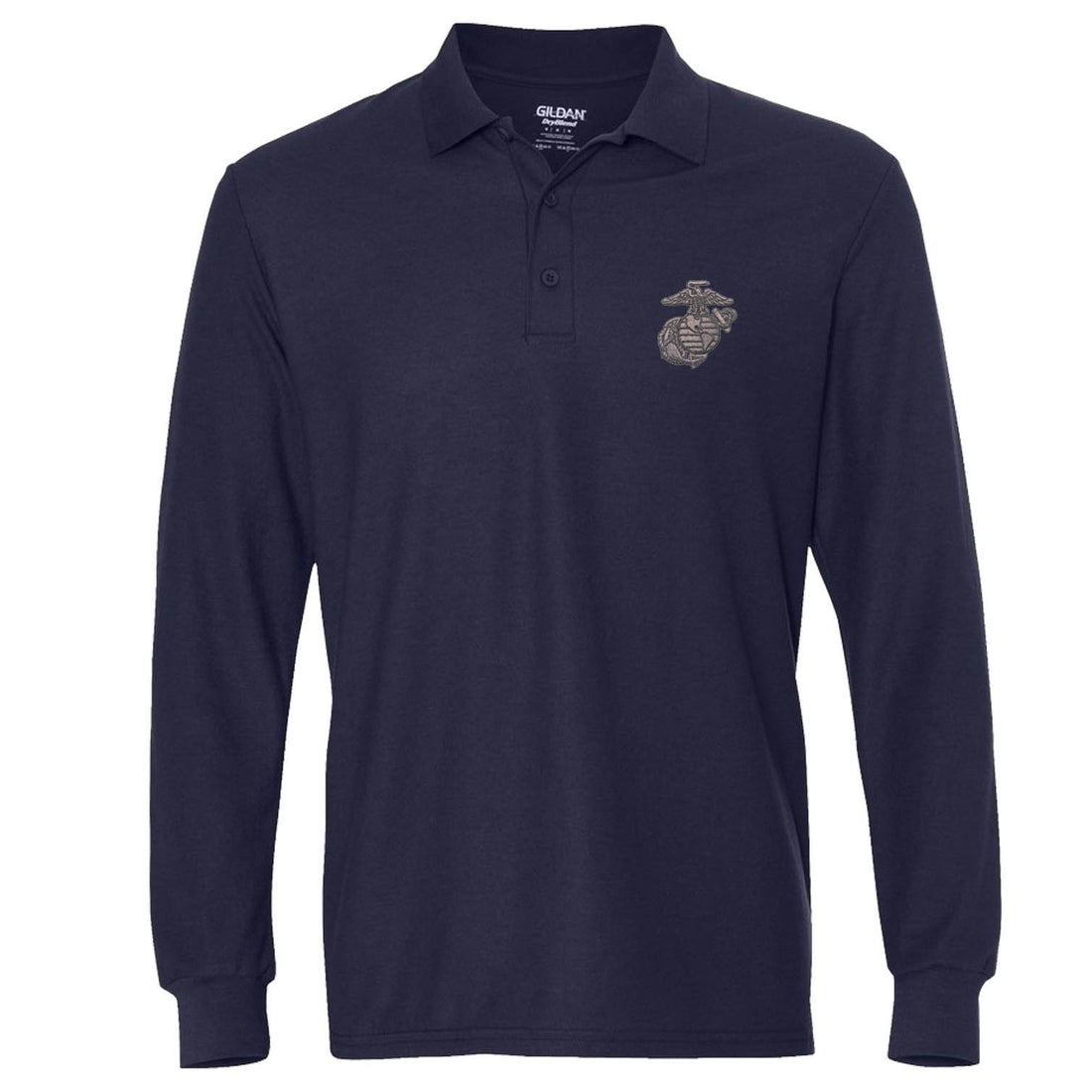 Gunmetal Embroidered Long Sleeve Polo (MULTIPLE COLORS) - Marine Corps Direct  - 5
