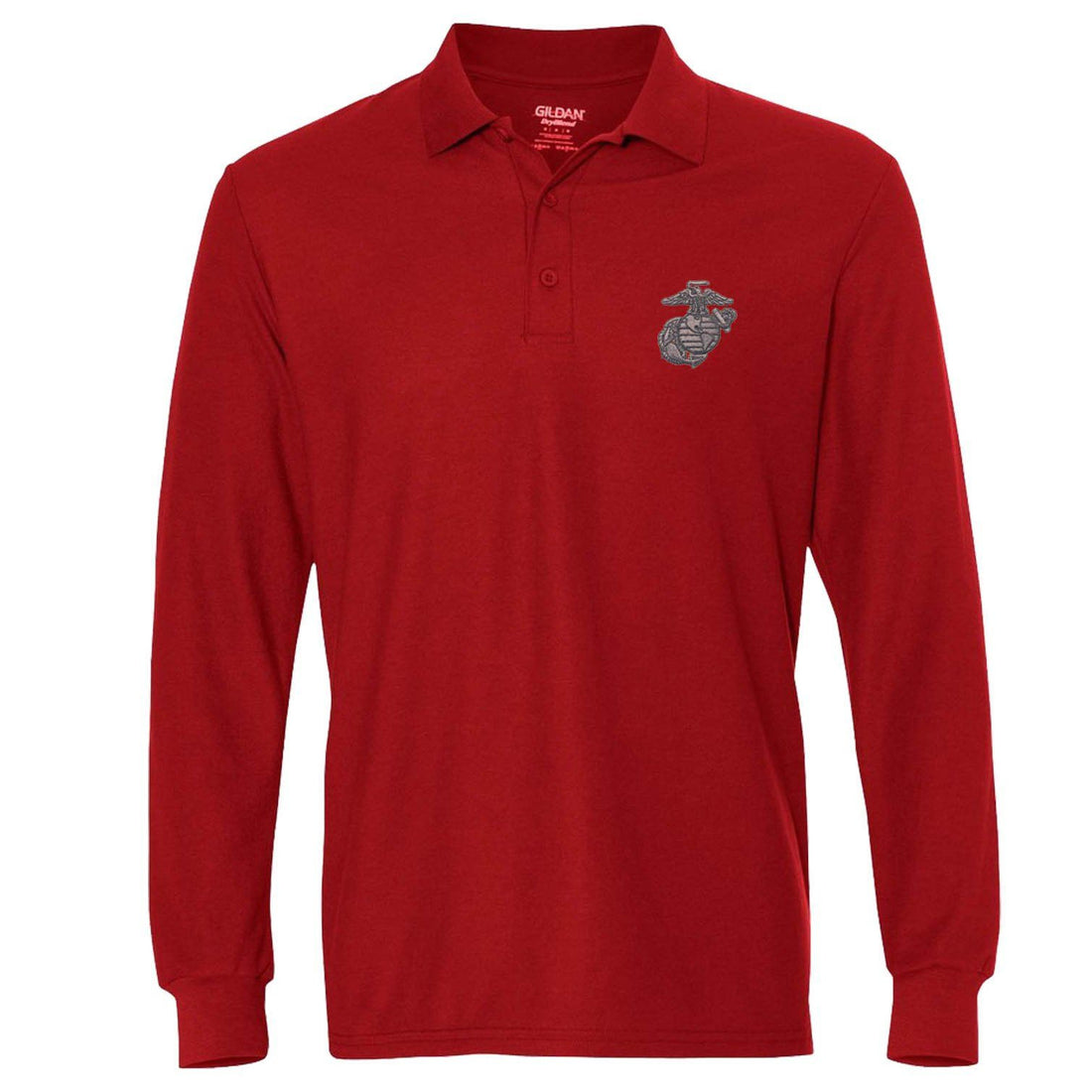Gunmetal Embroidered Long Sleeve Polo (MULTIPLE COLORS) - Marine Corps Direct  - 2