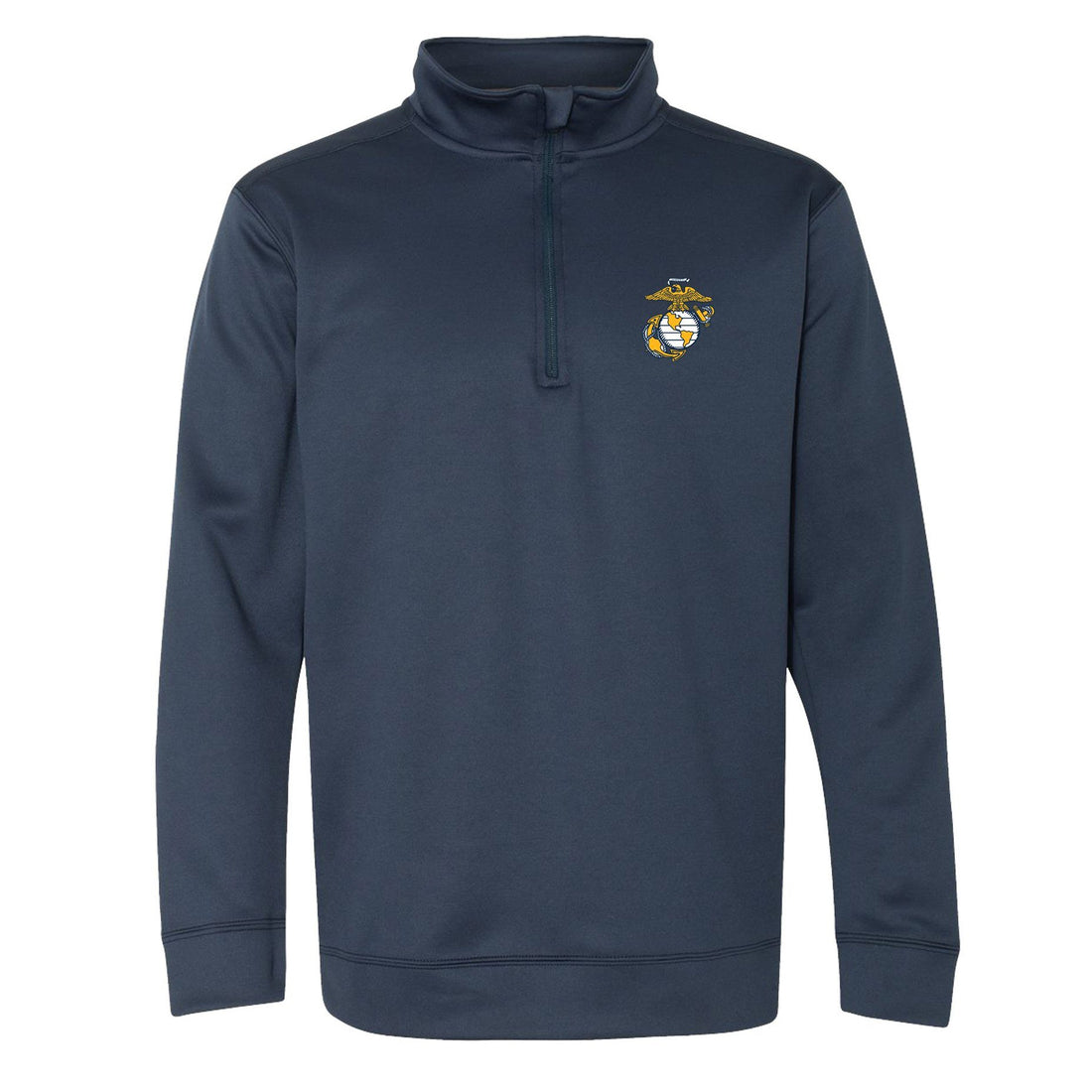 Front view of the navy-colored quarter-zip Marine Corps sweatshirt from Marine Corps direct.