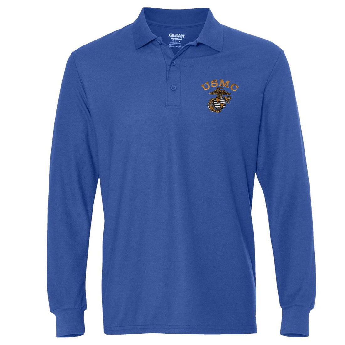 Tonal USMC EGA Embroidered Long Sleeve Polo