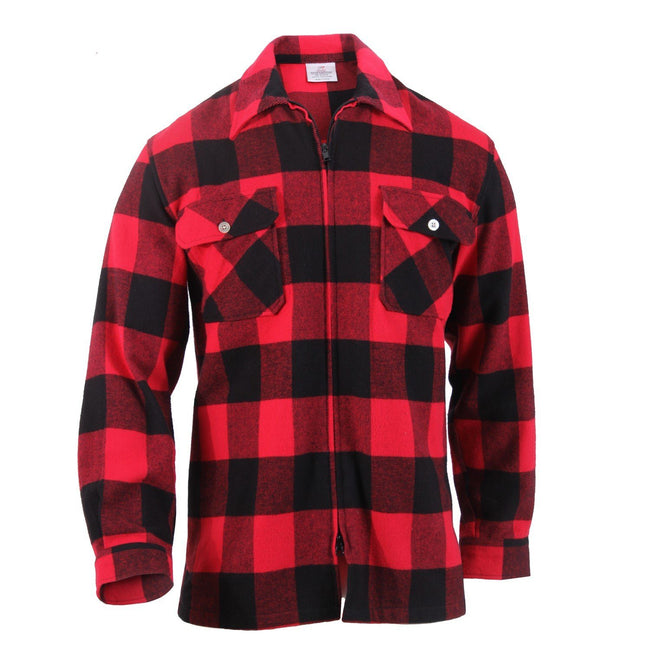 Zip-up red and black flannel shirt with two front pockets that's part of the concealed carry clothing for men line at Marine Corps Direct.