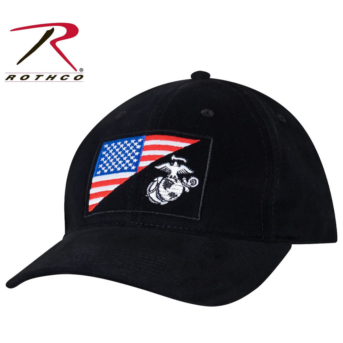 Black USMC hat with the American flag on one half of the front patch and the eagle, globe, and anchor insignia on the other half.