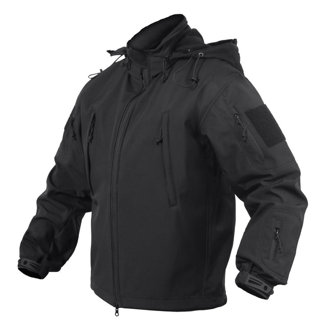 Black, zip-up, soft-shell jacket that's part of Marine Corps Direct's concealed carry clothing for men line.