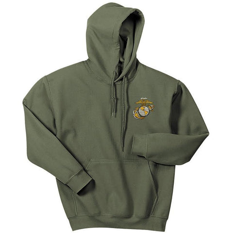 Military Green Hoodie with Large Embroidered Eagle, Globe and Anchor