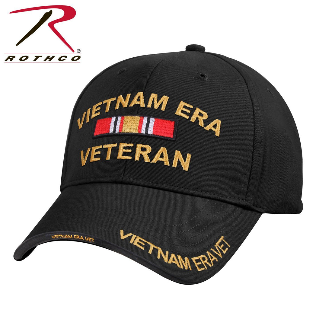 "Front view of the Vietnam veteran hat at Marine Corps Direct that has and embroidered ribbon and text that reads ""VIETNAM ERA VETERAN"" on the front of the hat, front of the bill, and the side of the bill."